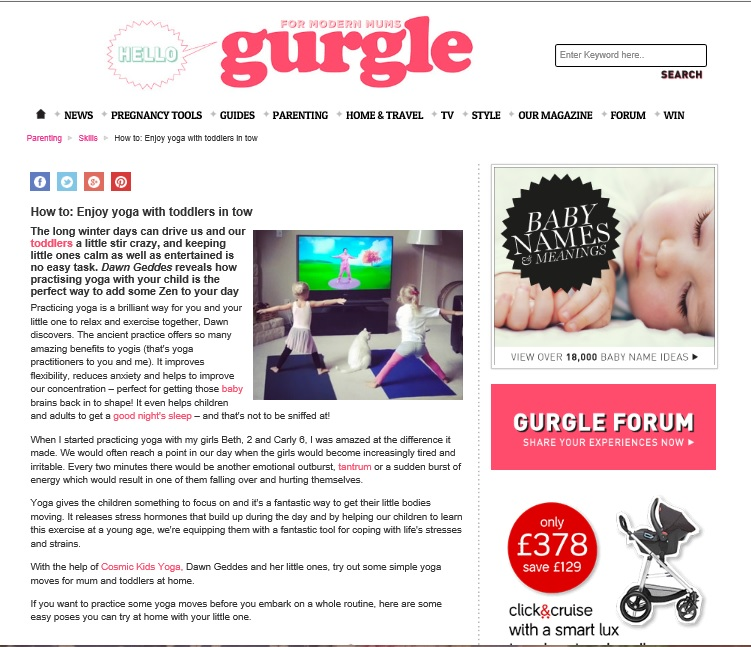 Toddler yoga feature for Gurgle.com